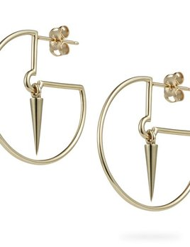 Luke Rose - Pendulum Hoops Earrings - 9ct Yellow Gold