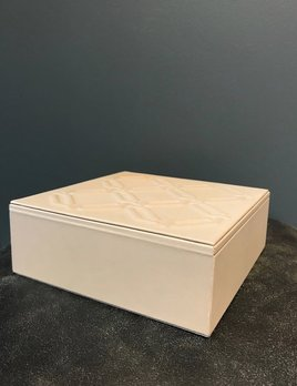 riviere Riviere - Square Leather Box with Embossed Octagon Motif - Handmade in Italy - Grey - 27x18x8