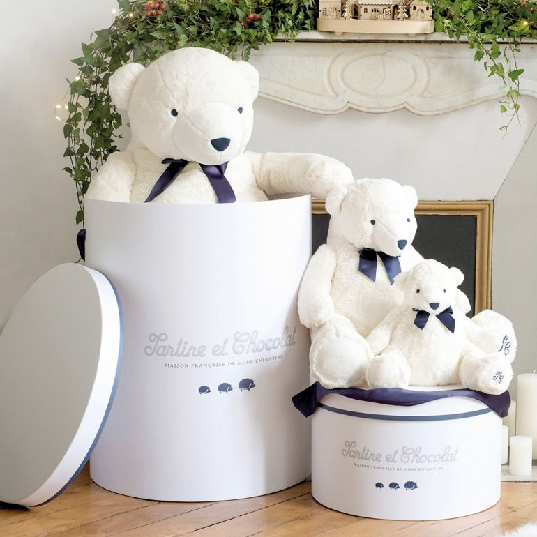 tartine et chocolate Tartine et Chocolat - Jean the White Bear - Ecru 60cm - Gift Box