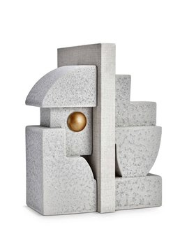 L'Objet L'Objet - Cubisme Bookend - Grey/Gold - 9 L x 9 W x 23 H cm (each side)
