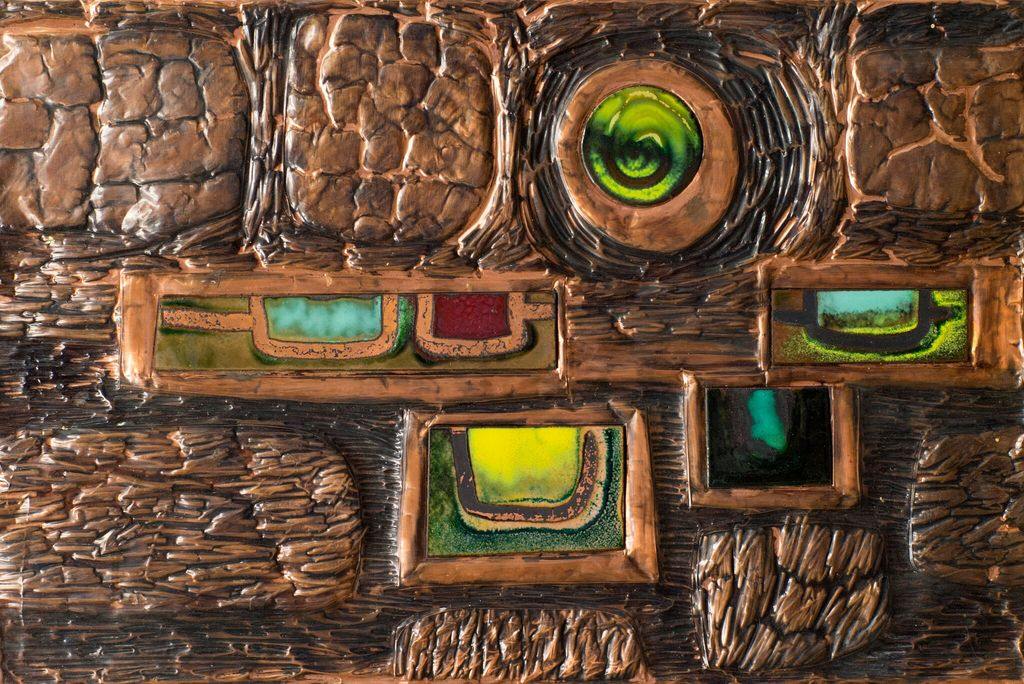 Vintage Artwork - Brutallist - Pressed Copper Panel - Yellow, Orange Blue and Red Enamel c1970