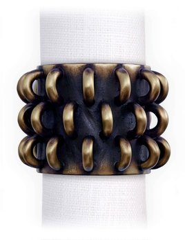 L'Objet L'Objet - Tulum Napkin Rings - Antique Gold - Set of 4