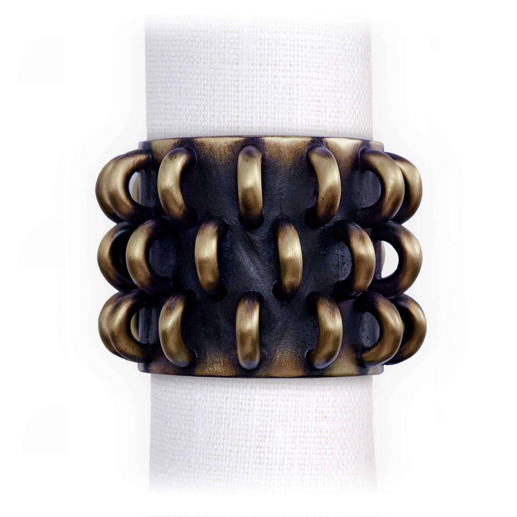 L'Objet L'Objet - Tulum Napkin Rings - Antique Gold - Set of 4
