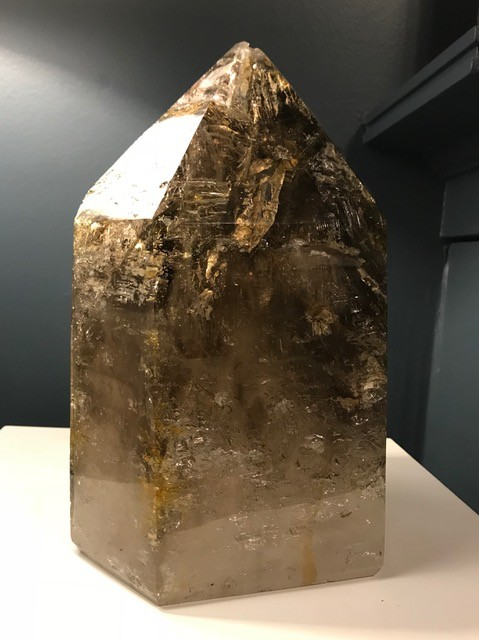 Magnificent XL Skeletial Smokey Quartz Point with Internal Bubble - H29cm Approx
