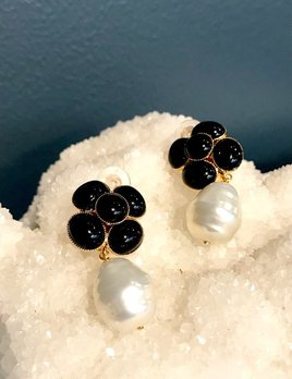 eaef8d8f5e Philippe Ferrandis Philippe Ferrandis - Black Swarovski Crystal and Pearl  Drop Clip Earring - Made in