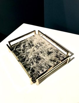 Giuliano Tincani Black Quartz and Nickel-plated Brass Tray - 21.5x16.5cm - Made in Italy