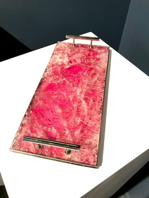 Giuliano Tincani Cherry (Pink) Quartz Nickel-plated Brass Tray - 37x17cm - Made in Italy