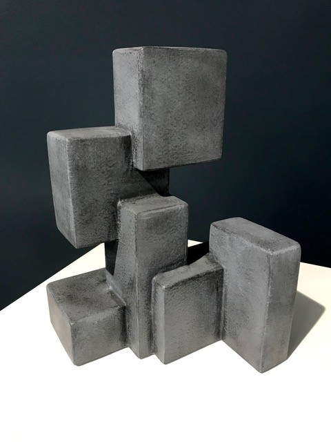 Dan Schneiger Geometric Free Standing Sculpture - Dan Schneiger - Resin Coated New and Recylced Wood Materials - Concrete Finish - H30cm approx