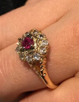 Antique 18ct Yellow Gold Diamond and Ruby Cluster Ring - Mixed Cut Deep Red Natural Ruby (.3ct) Claw Set at the Centre with 10 Surrounding Old Mine Cut Diamonds (Total=.50ct H-J/S1)