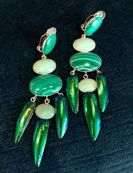 Philippe Ferrandis Philippe Ferrandis - Ming Special Edition Long Earring - Emerald Green Malachite and Beetle - Made in France