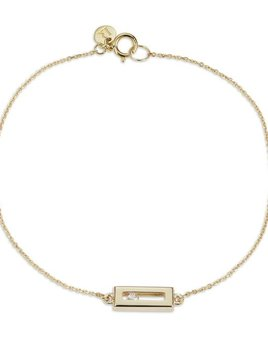 Sliding Rock Bracelet Brush Finish by Luke Rose - 14ct Yellow Gold Diamond Cut Chain 9ct Yellow Gold Setting and Findings - Available in Black, White, Pink, Blue, Yellow Sapphire, Tsavorite Garnet and Amethyst
