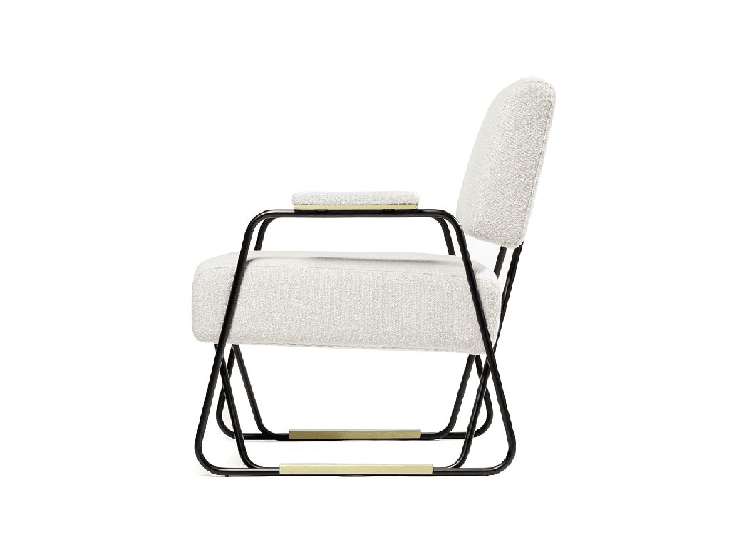 Apollo Armchair - Black Lacquered Iron Structured and Brushed Brass Detail - W81cm - D77cm  - H80cm - Portugal - By Order Only