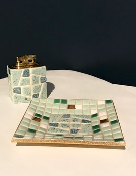Vintage Green and Cream Mosaic Ashtray and Lighter - Original Condition