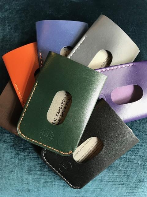 Blackinkk The Two Pocket Card Holder - Kangaroo Leather - Handmade in Australia - Assorted Colours