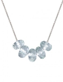 Olly & Rose - 5 Stone Faceted Aquamarine and 14k White Gold Necklace - Australia