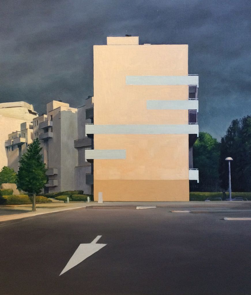 James King - Dijon Housing Estate - 72x63cm Framed - 2018 - Oil on Board
