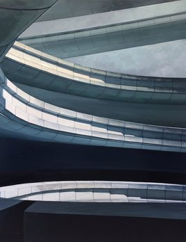 James King - CDG Terminal 2018 - 152x152cm Framed - Oil on Canvas