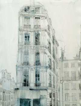 James King - Lyon France 2018 - 46x38cm Framed - Pencil and Watercolour on Paper