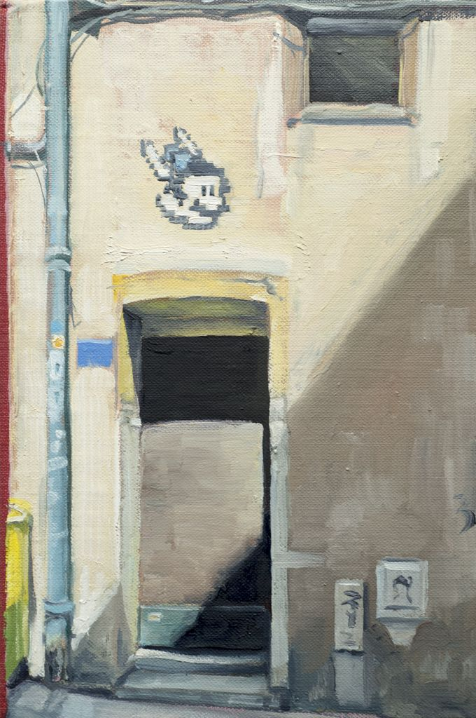 James King - Doorway, Lyon 2018 -  34x27.5cm Framed - Oil on Book
