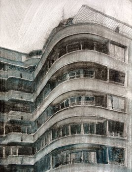 James King - Grenoble Apartment Building France 2018 - 46x38cm Framed Pencil and Watercolour on Paper