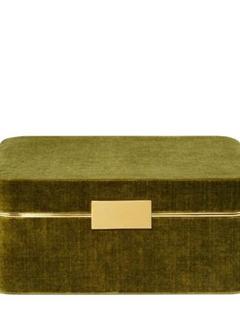 Aerin AERIN - Beauvais Suede Jewellery Box - 27x19cm H12.5cm - Moss Green