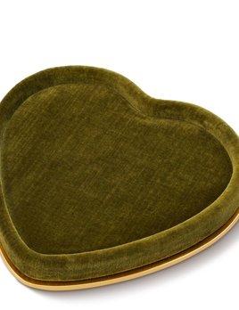 Aerin AERIN - Valentina Velvet Heart Tray  - Moss Green