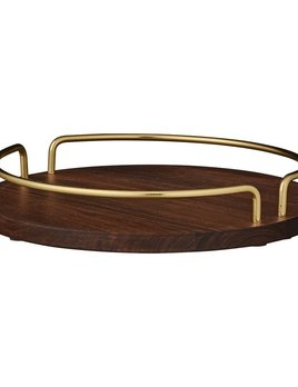 AYTM Vita Tray - Walnut and Gold - D26cm
