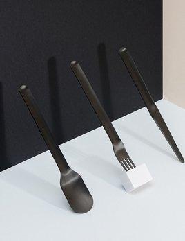 Until/See Concept Nigiri Cutlery - Minimal black coated metal cutlery set including fork, knife and spoon