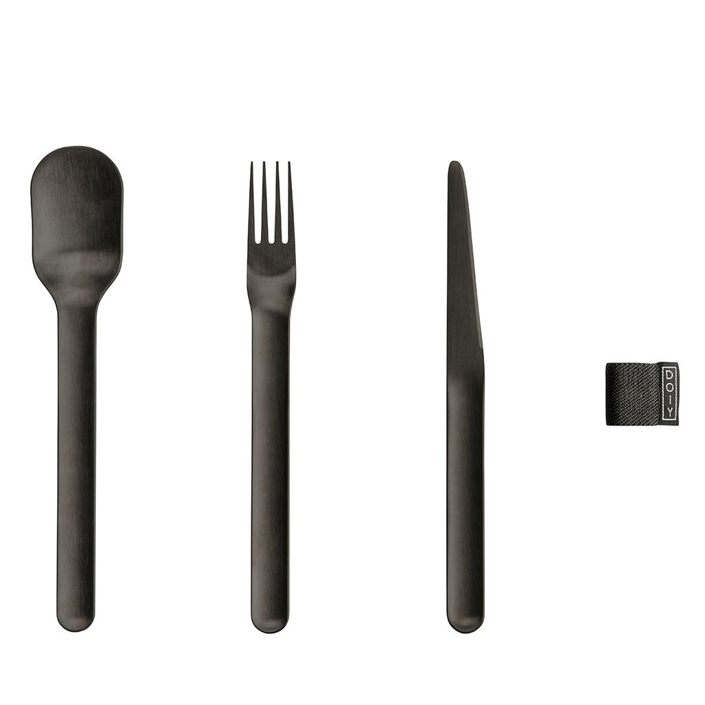 Until/See Concept Nigiri Cutlery - Minimal black coated metal cutlery set including fork, knife and spoon