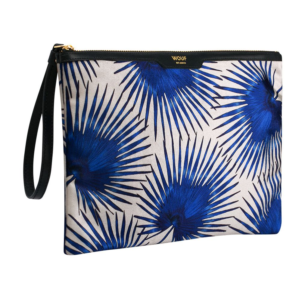 Until/See Concept Wouf - XL Clutch with Leather Strap - Blue Palm