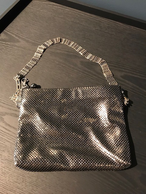 Laura B LAURA B - SAM - Silver Mesh with Leather Body Bag, Can be Worn as Belt or Cross Body - Handmade in Spain