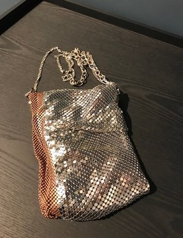 Laura B LAURA B - FEDRA - Silver & Copper Mesh  Body Bag with Extendable Cross Body Strap - Handmade in Spain