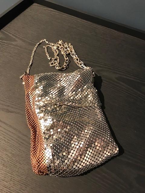 Laura B LAURA B - FEDRA - Silver & Copper Mesh  Body Bag with Extendable Cross Body Strap - Handmade in Spain