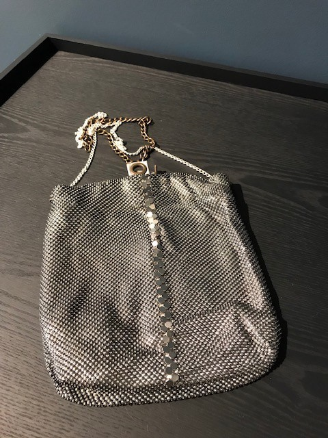 Laura B LAURA B - PARTY BAG - Silver Mesh Body Bag with Extendable Cross Body Strap - Handmade in Spain