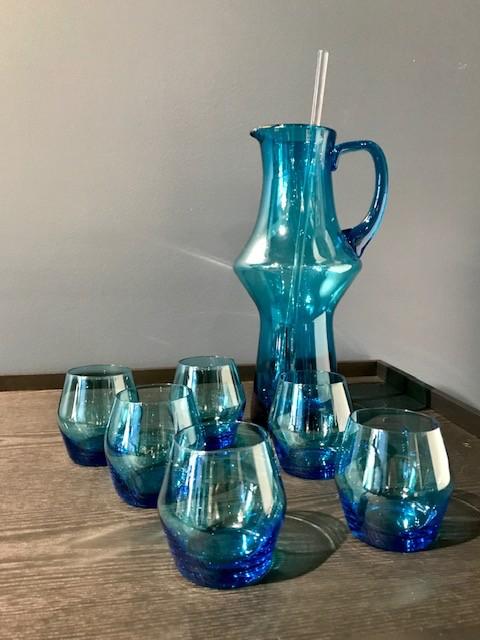Vintage Teal Martini Jug, Stirrer and Six 6 Matching Glasses -  c1970