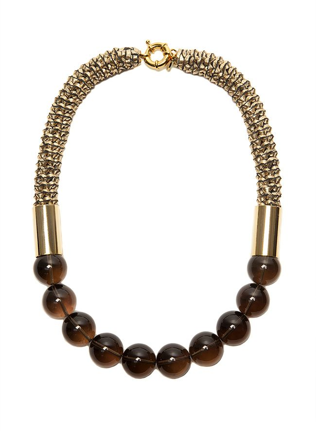 2 by lyn and tony LUNA -  2 by Lyn&Tony - Woven Gold KAngaroo Leather & Smoky Quartz Stone Necklace - Handcrafted  in Australia