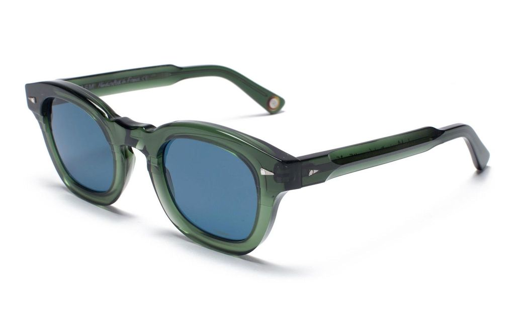 Proper Goods Ahlem Eyewear - Le Marais - Dark Green Blue Lens - Handmade in France