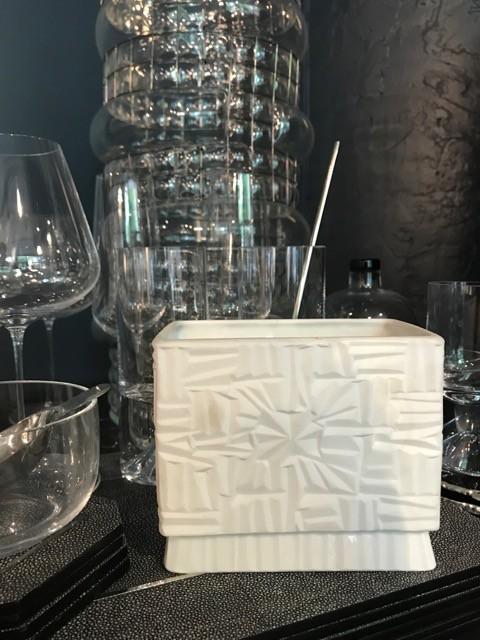 Vintage Matte White Vase - Low - Brutalist Geometric - H12xW14cm - Germany