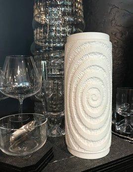 Vintage Matte White Vase - Swirl Pattern - H27cm - Germany