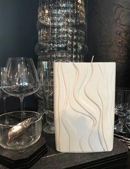 Vintage Rectangular Heinrich Matte White Vase - Swirl Pattern - H21cm - Germany