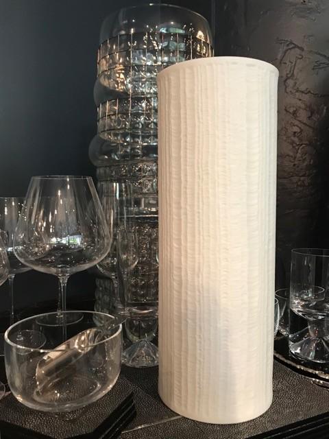 Vintage Hutschenreuther Matte White Vase - Ripple Pattern - H32cm - Germany