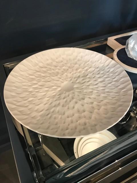Vintage  Matte White Dish / Bowl - D33cm - Germany