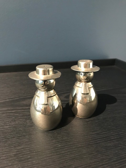 Vintage Silver Plate Snow Men Salt and Pepper Shakers - UK