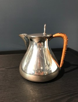 Vintage Silver Plate Tea Pot - Curved Rattan Weave Handle - Mappin & Webb - UK