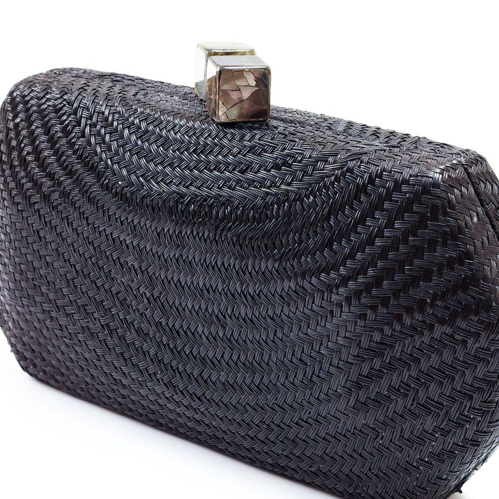 Likha Sarsuela Handwoven Clutch with Gold Chain- Black