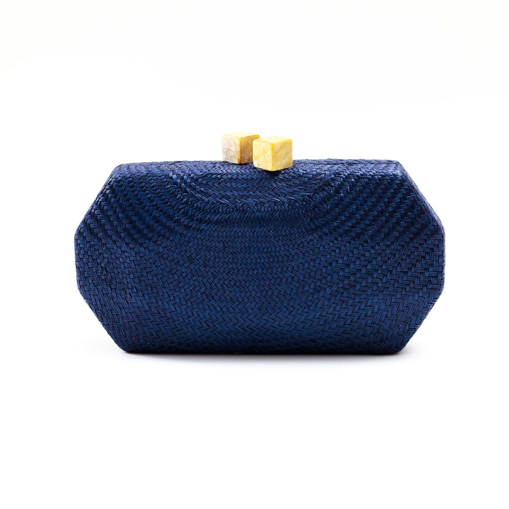 Likha Sarsuela Handwoven Clutch with Gold Chain- Navy Blue