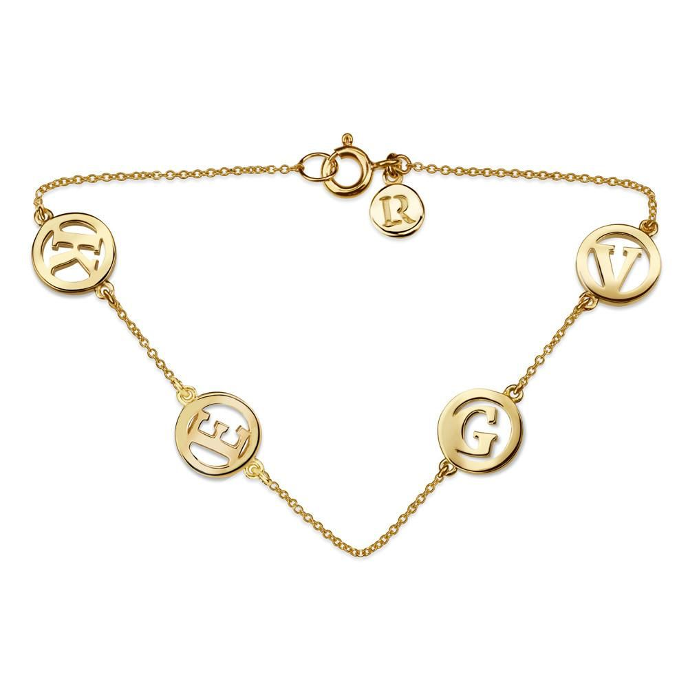 Luke Rose Me & My Unity 4 Initial Bracelet by Luke Rose - 14ct Yellow Gold Diamond Cut Chain with 9ct Yellow Gold Letters - Select your own Initials