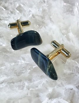 Vintage Polished Black Tiger's Eye Stone Cufflinks - Gold Toned c1970