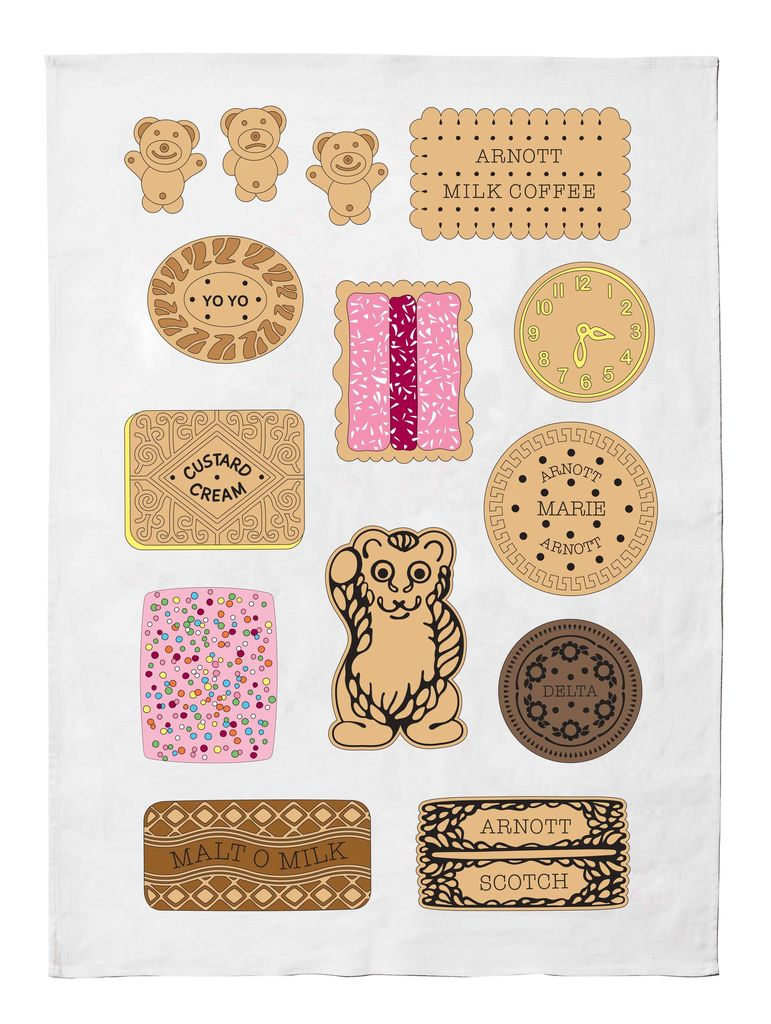 Make me Iconic Bickies Tea Towel - 50% Linen 50% Cotton