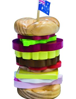 Make me Iconic Stacking Burger - Wood with non Toxic Paints